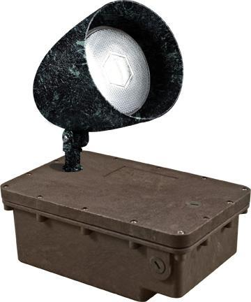 Cast Aluminum HID Metal Halide Spot Light with In-Ground Ballast Box - Verde Green Outdoor Dabmar 70W Metal Halide 120V