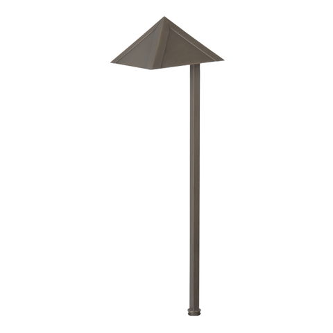 Small Pyramid Path Light Integral LED Solid Brass Outdoor Luminance