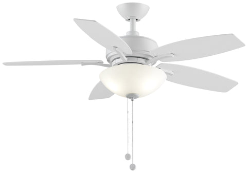 Aire Deluxe - 44 inch White Ceiling Fan with Light Kit