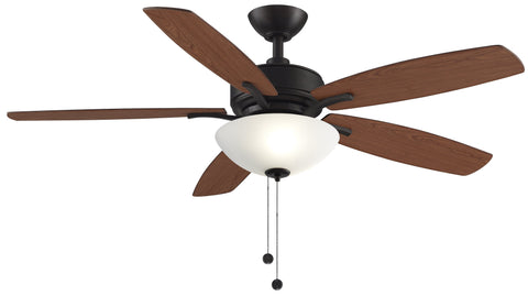 "Aire Deluxe 52"" Dark Bronze Ceiling Fan with Cherry/Dark Walnut Blades and Light Kit Fans Fanimation"