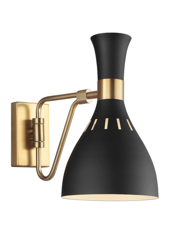 Joan Midnight Black / Burnished Brass 1-Light Wall Sconce