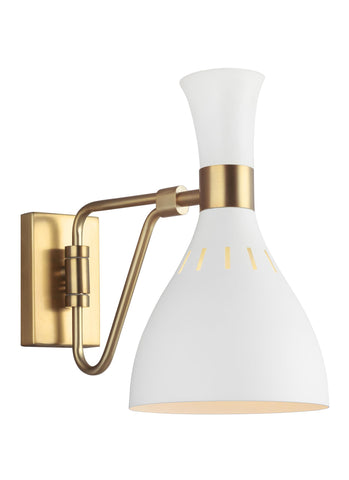 Joan Matte White / Burnished Brass 1-Light Wall Sconce Wall Feiss
