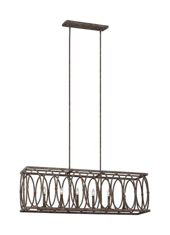 Patrice Deep Abyss 6-Light Linear Chandelier Ceiling Feiss