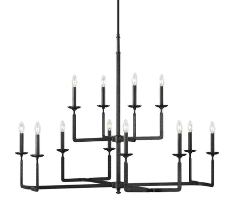Ansley Aged Iron 12-Light Chandelier Ceiling Feiss