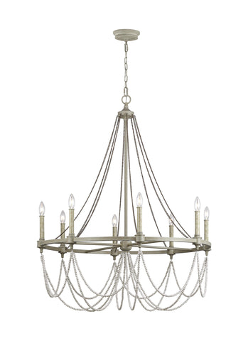 Beverly French Washed Oak / Distressed White Wood 8-Light Chandelier Ceiling Feiss