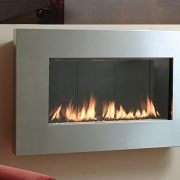 "Spark Fire Ribbon Direct Vent Slim 46"" Stainless - Natural Gas"