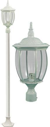 "Cast Aluminum 110""h Post Light Fixture - White Outdoor Dabmar 60W Med Base Incandescent"