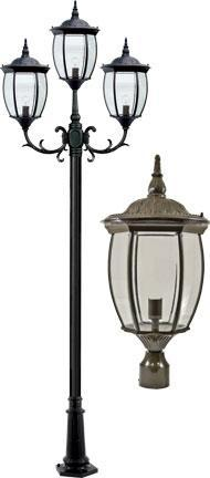 "Cast Aluminum 134""h 3-Arm Post Light Fixture - Bronze"
