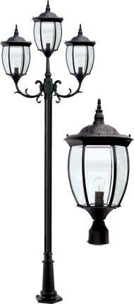 "Cast Aluminum 134""h 3-Arm Post Light Fixture - Black"