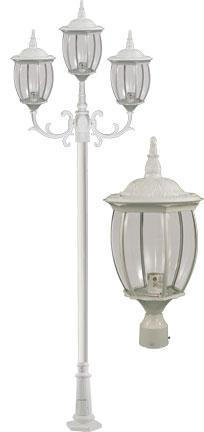 "Cast Aluminum 134""h 3-Arm Post Light Fixture - White"