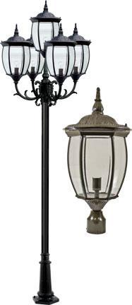"Cast Aluminum 134""h 5-Arm Post Light Fixture - Bronze"