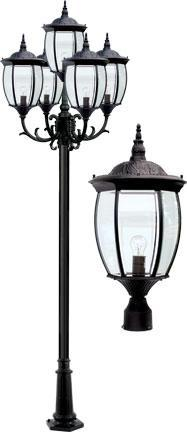 "Cast Aluminum 134""h 5-Arm Post Light Fixture - Black"