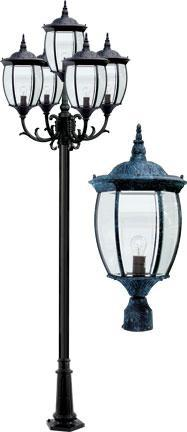 "Cast Aluminum 134""h 5-Arm Post Light Fixture - Verde Green"