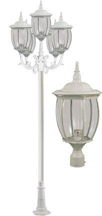 "Cast Aluminum 134""h 5-Arm Post Light Fixture - White"