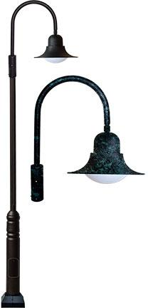"Cast Aluminum HID Gooseneck 152""h Post Light - Verde Green"