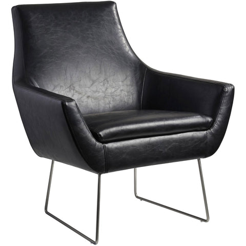 Kendrick Leather Chair - Black Furniture Adesso