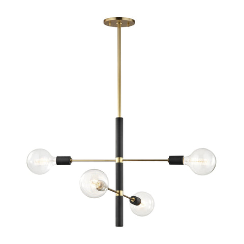 Astrid 4 Light Chandelier - Aged Brass/Black Ceiling Mitzi
