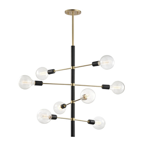 Astrid 8 Light Chandelier - Aged Brass/Black