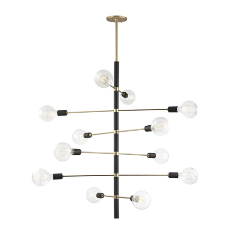 Astrid 12 Light Chandelier - Aged Brass/Black