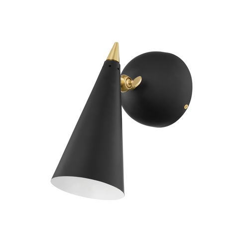Moxie 1 Light Wall Sconce - Aged Brass, Black
