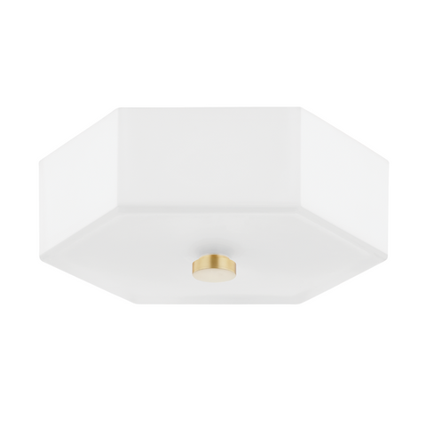 Lizzie 2 Light Flush Mount - Aged Brass, Polished Nickel