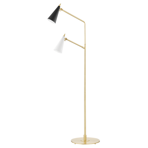 Moxie 2 Light Floor Lamp - Aged Brass, White, Black