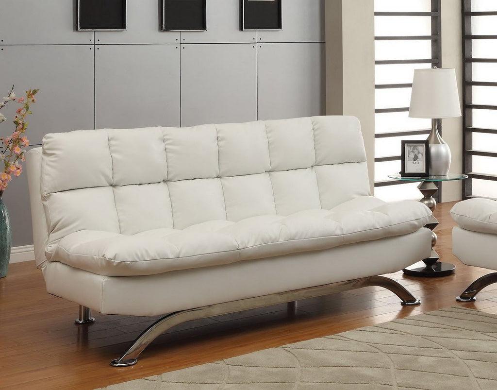 Halloway Modern Tufted Bicast Leather Futon Sofa White Furniture Enitial Lab