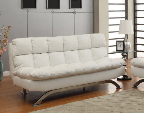 Halloway Modern Tufted Bicast Leather Futon Sofa White