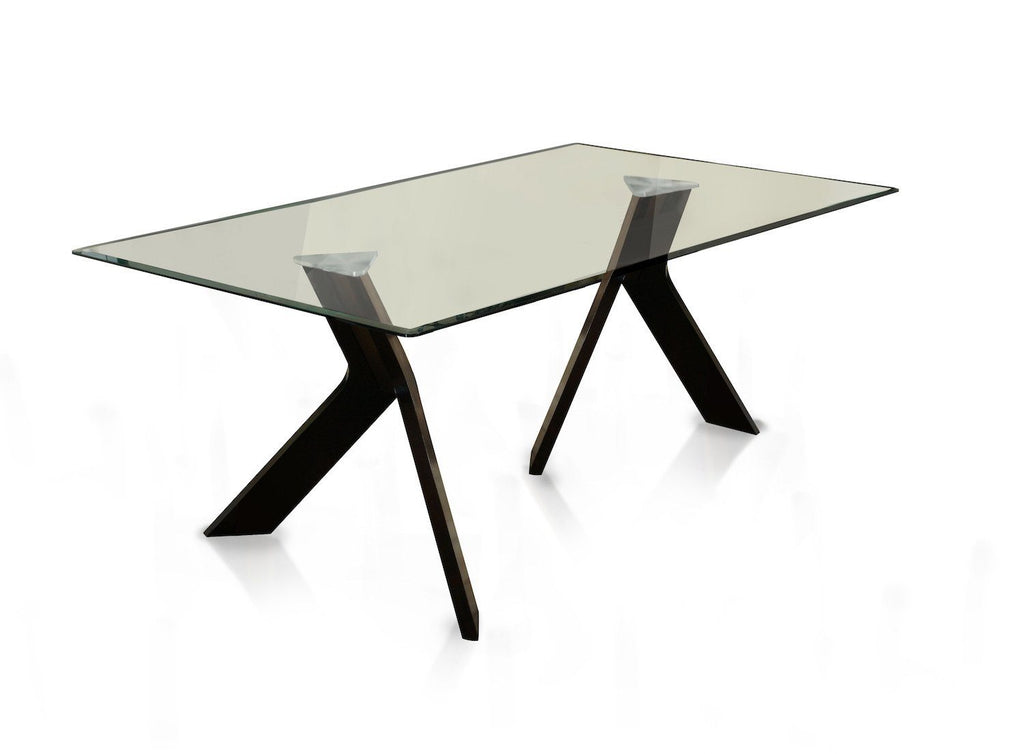 Tenya Modern Angular Glass Top Dining Table Espresso Furniture Enitial Lab Espresso