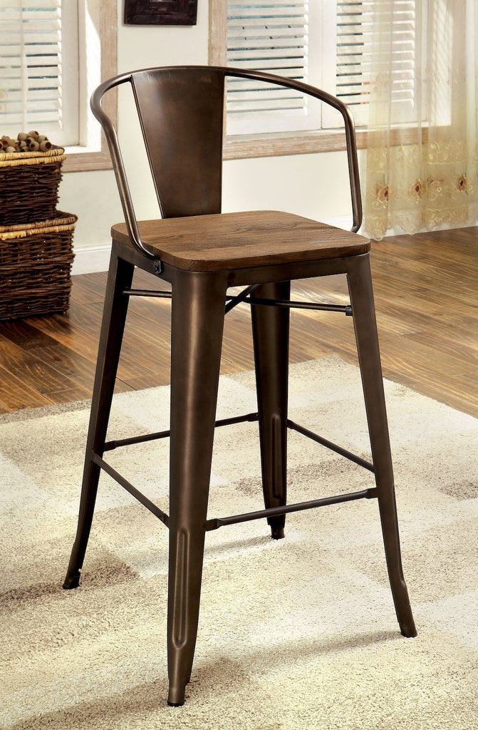 Coper Metal & Wood Counter Chair Natural Elm (Set of 2) Furniture Enitial Lab