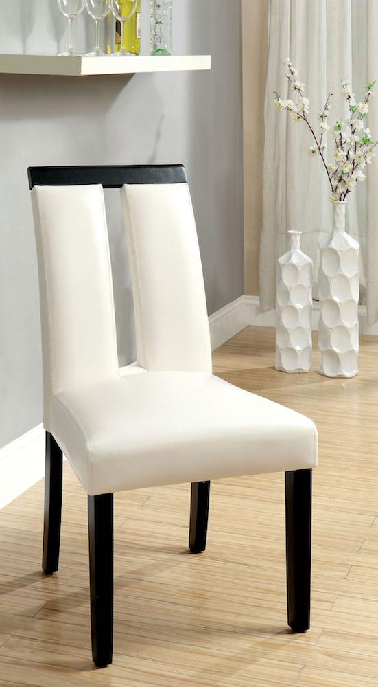 Henway Keyhole Dining Chair White Leatherette (Set of 2) Furniture Enitial Lab
