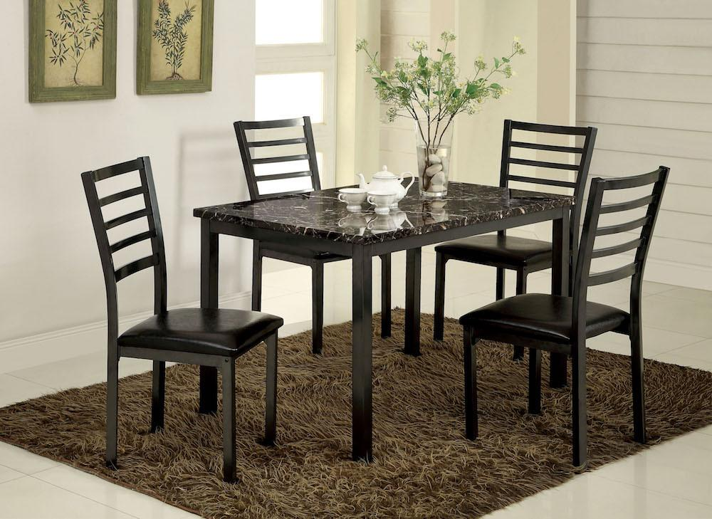 Jilen Faux Marble Dining Table Black Furniture Enitial Lab