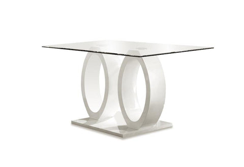 Ferian Modern High Gloss Glass Top Dining Table White