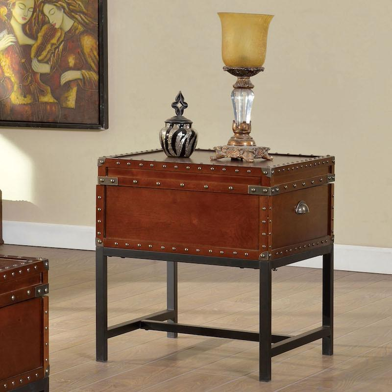 Jaylen Trunk Style End Table Cherry Furniture Enitial Lab