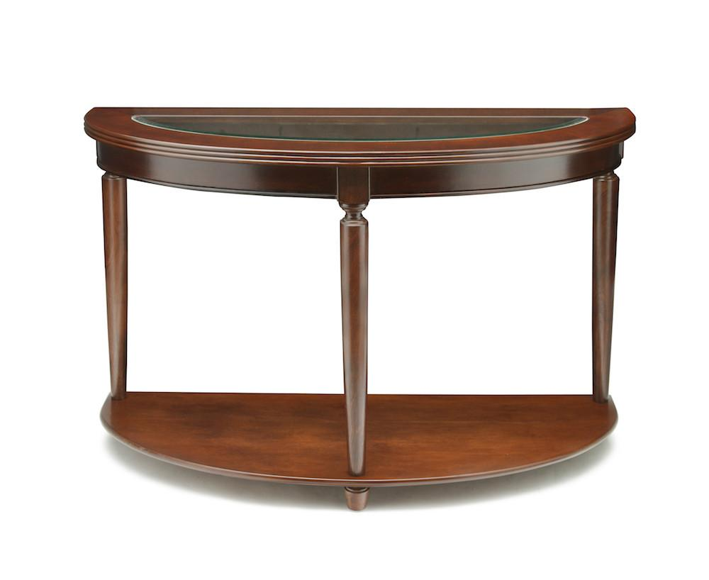Claire Glass Top Sofa Table Dark Cherry Furniture Enitial Lab