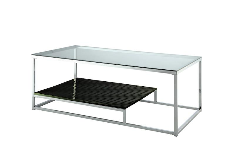 Kepir Modern Metal Coffee Table Chrome & Black Furniture Enitial Lab