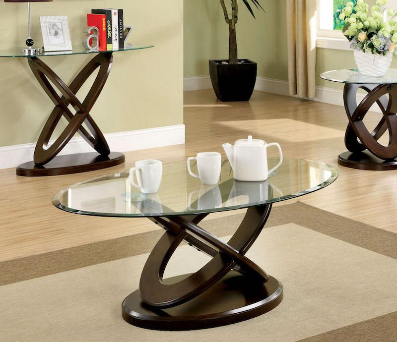 Celena Modern Oval Glass Top Coffee Table Dark Cherry Furniture Enitial Lab