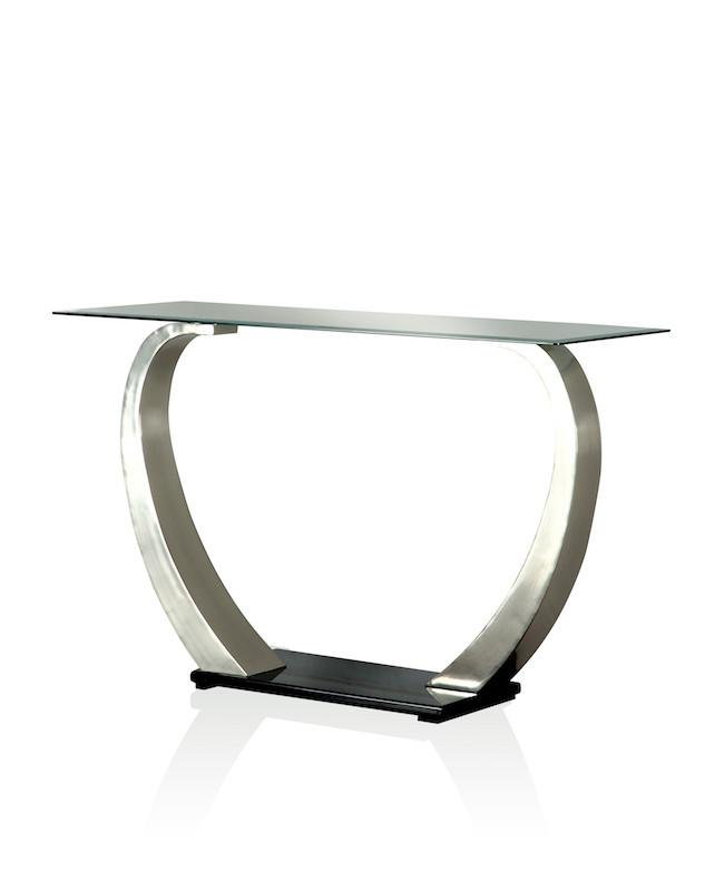 Lineo Glass Top Satin Plated Sofa Table Furniture Enitial Lab