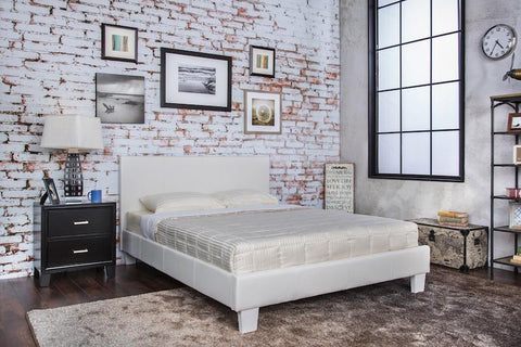 Bolan Leatherette Queen Bed White