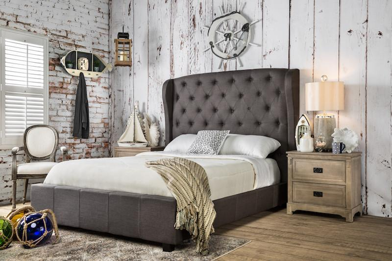 Revene Tufted Flax Fabric Cal King Bed Gray Furniture Enitial Lab