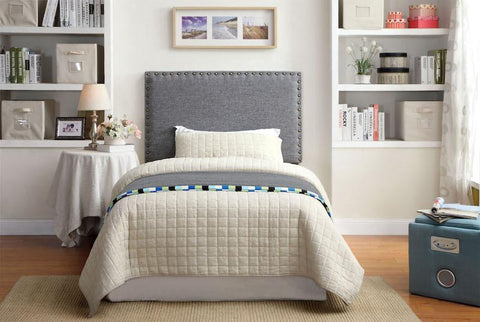 Reina Flax Fabric Twin Headboard Gray