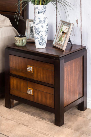 Simsone 2-Drawer Two-Tone Nightstand Acacia & Walnut