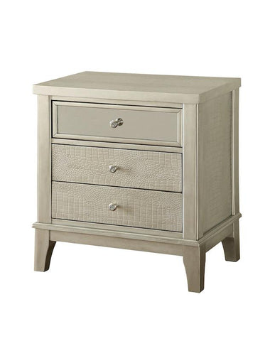 Hera 3-Drawer Crocodile Skin Nightstand Silver Furniture Enitial Lab