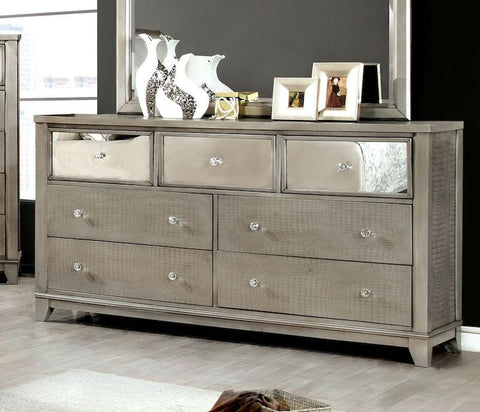 Her7-Drawer Mirrored Crocodile Dresser Silver