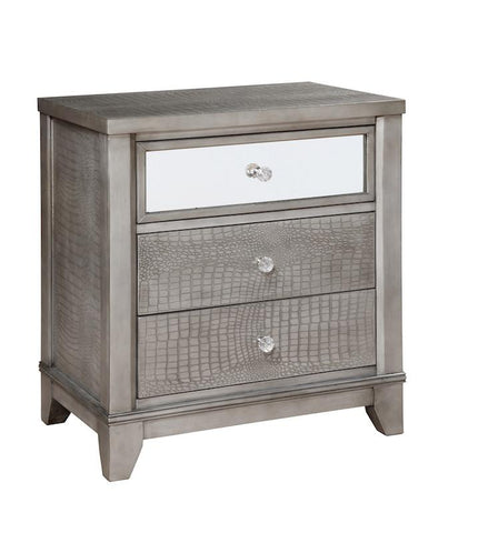 Demi 3-Drawer Crocodile Skin Nightstand Silver