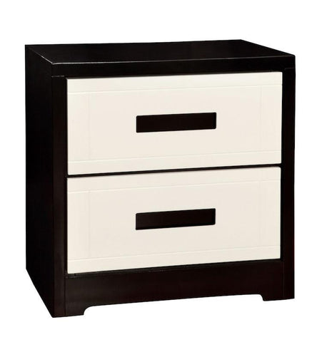 Lode Modern Two-Tone 2-Drawer Nightstand Black & White