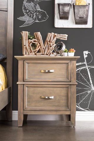 Sande 2-Drawer Nightstand Weathered Oak Furniture Enitial Lab