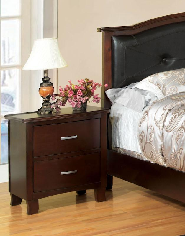 Lenard Modern 2-Drawer Nightstand Brown Cherry Furniture Enitial Lab