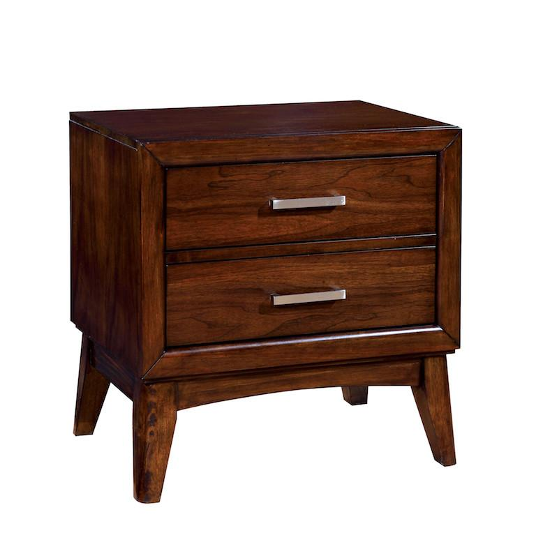 Lenod Modern 2-Drawer Nightstand Brown Cherry