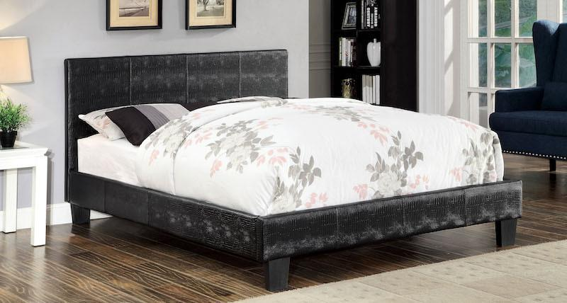 Jeni Crocodile Skin Leatherette Queen Bed Black
